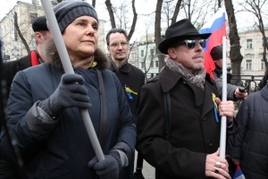 Makarevitch and Prohorova at a Peace rally on March 15, 2014