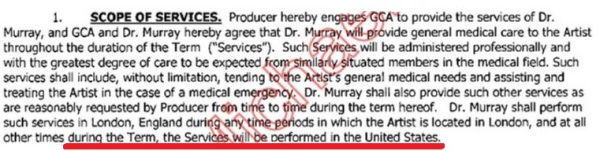 "Murray was to render his ""services"" in the US too (and not only in London)"
