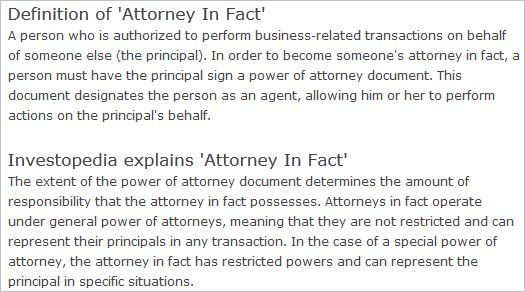 Attorney In Fact Meaning Philippines