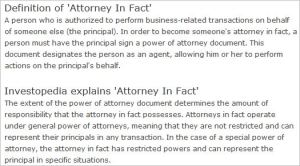 Meaning Of Attorney In Fact