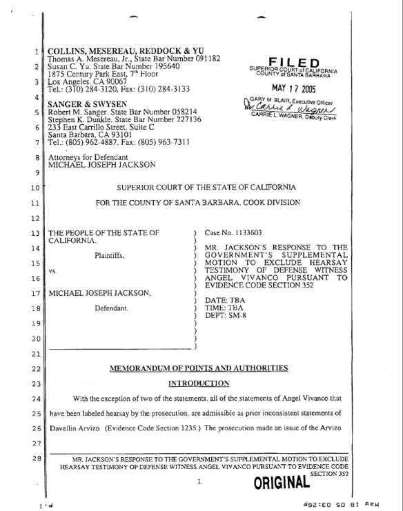 March 3rd, 2005 Trial Analysis: Albert Lafferty (Cross
