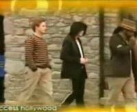 Billy Bush, Michael Jackson and Will.I.Am are walking to the recording studio