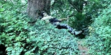 The wax figure of Elvis Presley in the woods