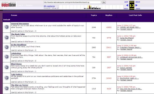 The screen shot of the National Enquirer's forum page of June 12th, 2004