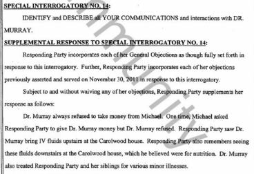 14- Murray refused to take money from MJ, fluids