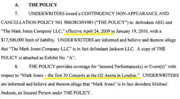 The amended variant of the insurance policy was effective as of April 24th and covered 30 shows ON CONDITION Michael Jackson underwent a second medical examination