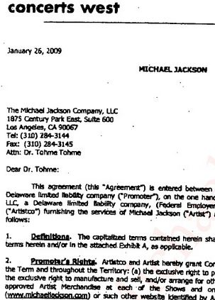 "The opening page of the AEG ""letter agreement"" is dated January 26 and is addressed to ""Dear Dr. Tohme"""