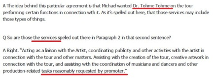 A fragment from Tohme's agreement with AEG: he was to perform the tasks reasonably requested by the promoter [AEG]