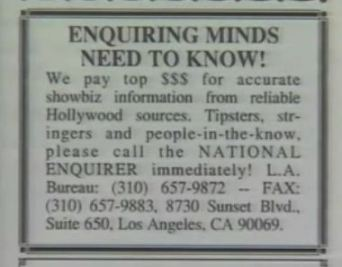 Ads placed by the National Enquirer to tell on their employers