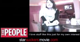 """A shot from the Starsuckers documentary: """"I love it for my own interest"""" (a reporter for the People)"""