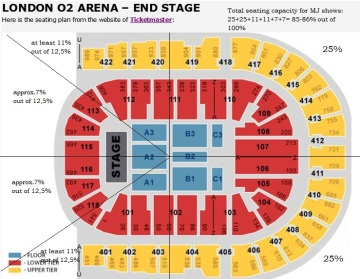 O2 arena seating capacity (with rough calculations)