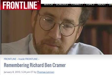 Richard Ben Cramer was a Pulitzer Prize-winning journalist  whose in-depth non-fiction spanned presidential politics, baseball, and an Oscar-nominated documentary Cramer won the 1979 Pulitzer Prize for international reporting for his reports from the Middle East while with The Philadelphia Inquirer. He also wrote for Time, Newsweek, The New York Times Magazine, the Baltimore Sun, Esquire, and Rolling Stone.