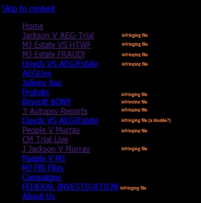 "Content of TeamMichaelJackson site in its 10.10.2013 version with the ""infringing files"" marked"