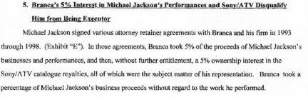 Excerpt from Joe Jackson's case against Branca
