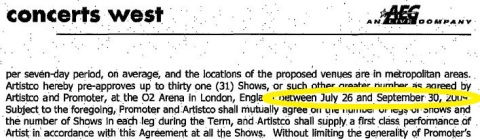 "The MJ ""contract"" with AEG   said that the tour was to start on JULY 26 ONLY. When AEG set the first concert on July 8 they shortened the period of rehearsals THEMSELVES"