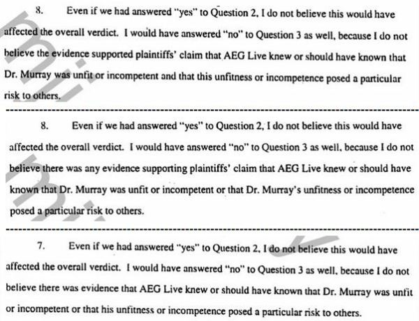 Affidavits of 7 jurors - even if we answered yes to question 2 - 3 pcs
