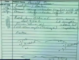 And third, Dr. Klein was making intramuscular injections of painkillers in the RUQ and LUQ which (as was explained at Murray's trial) stands for Right and Left Upper Quandrants. He was not making them in the vein (as this programs shows)