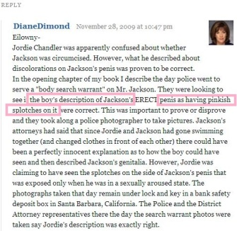 Dimond also says that Jordan described some pinkish spots on MJ's genitalia