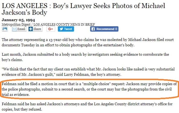 Feldman wants the photos barred - LATimes article Jan.5, 1994 -1