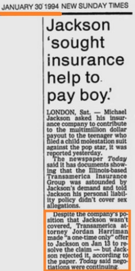"The Insurance company made a ""one-time"" offer to Jackson to  contribute to his payment to the Chandlers. Jackson refused. Three weeks later the negotiations were still going on"