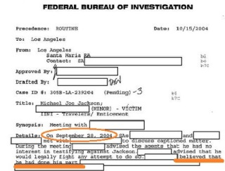 "FBI agents approached Jordan Chandler in September 2004. He said ""he had done his part"""