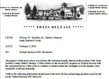 Press release of February 6, 2003 (the same day when Bashir's documentary aired and Jordan Chandler's 1993 declaration released  to the media)