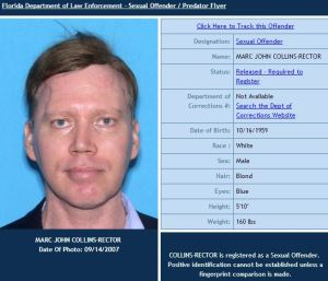 PASTY MONSTER Collins-Rector strikes a pose for the Florida sex-offender registry https://offender.fdle.state.fl.us/offender/flyer.do?personId=40974