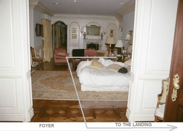 This is only part of the route should have taken wheeling an IV stand (if we are to believe Murray's tales).  The arrow points to the foyer,  then turns to the landing from which the door to the master bedroom opens