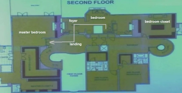 The arrow marks the route Michael had to make if he wanted to leave for his other bedroom