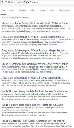 $1.62 billion claim by Wade Robson