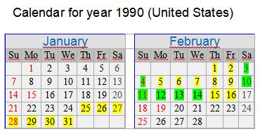calendar for January- February 1990