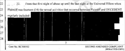 Example of a sealed document released  in a redacted from (Robson's second amended complaint under civil case BC508502)