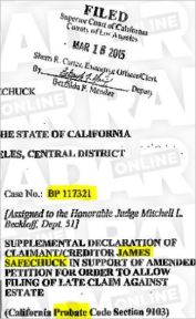 Safechuck makes his declaration under probate case BP177321