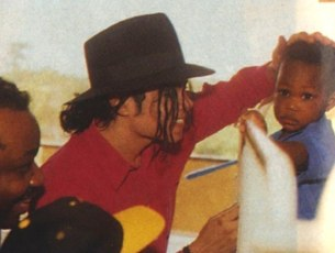 Michael visited ill children in Africa