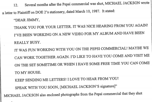 James Safechuck - Letter from Michael