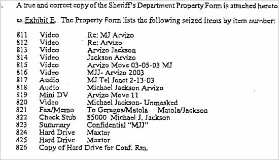 List of items the defense asked to be suppressed due to the illegal way they were obtained from Brad Miller's office