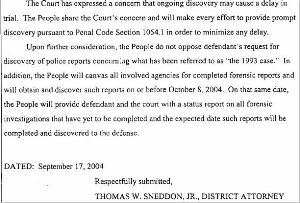 September 17, 2004 Sneddon's response to defense motion for 1993 discovery 1