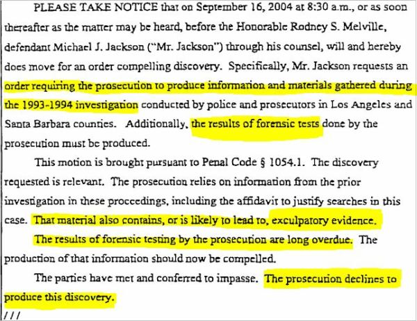 September 3, 2004 Defense compels discovery, forensic tests from 1993-94. Prosecution declines