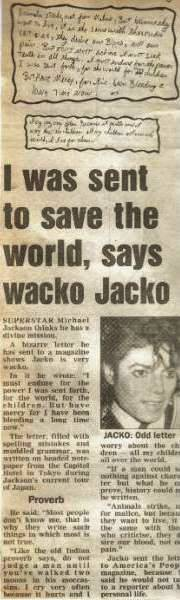 Bad tour - I was sent to save the world, says wacko Jacko