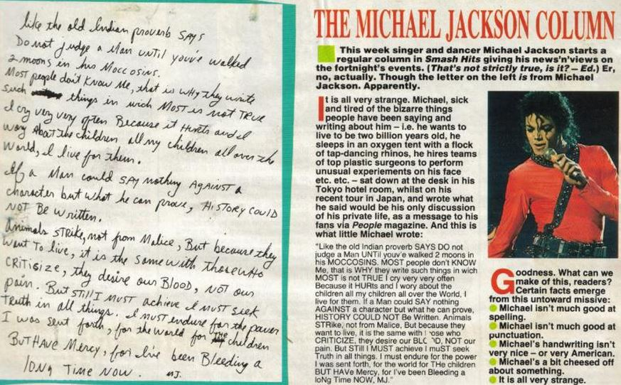 Bad tour - 60 MJ's letter