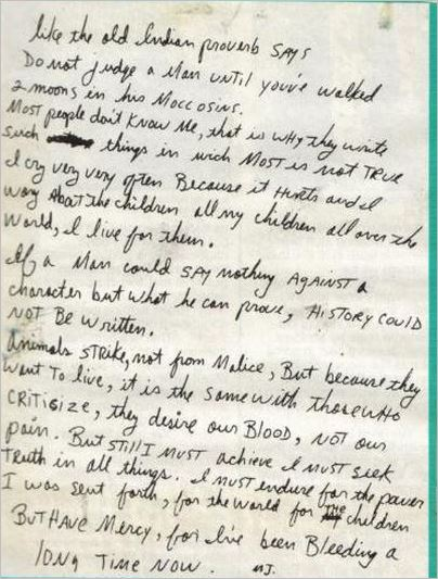 Bad tour - Michael's letter