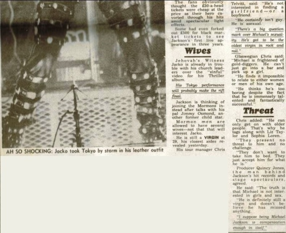 Bad tour - News of the world - Japs go whacko over raunchy Jacko 2