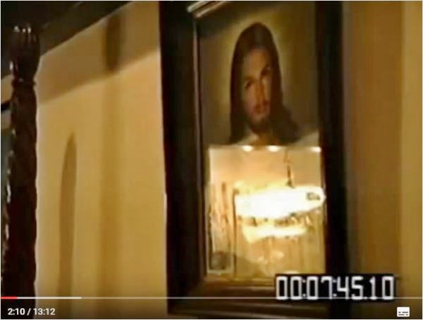 image of Jesus Christ over Michael Jackson's bed
