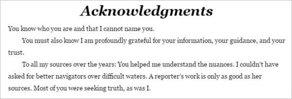 Diane Dimond's acknowledgments to her sources