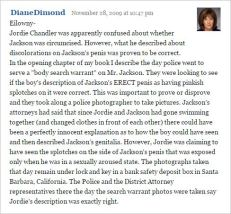 Diane Dimond is detailing Jordan Chandler's description [November 2009]