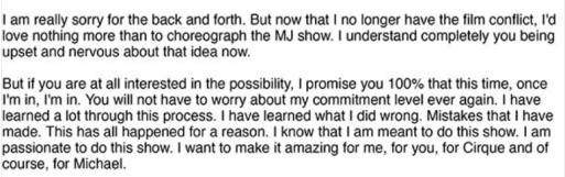 Robson's letter to Cirque du Soleil